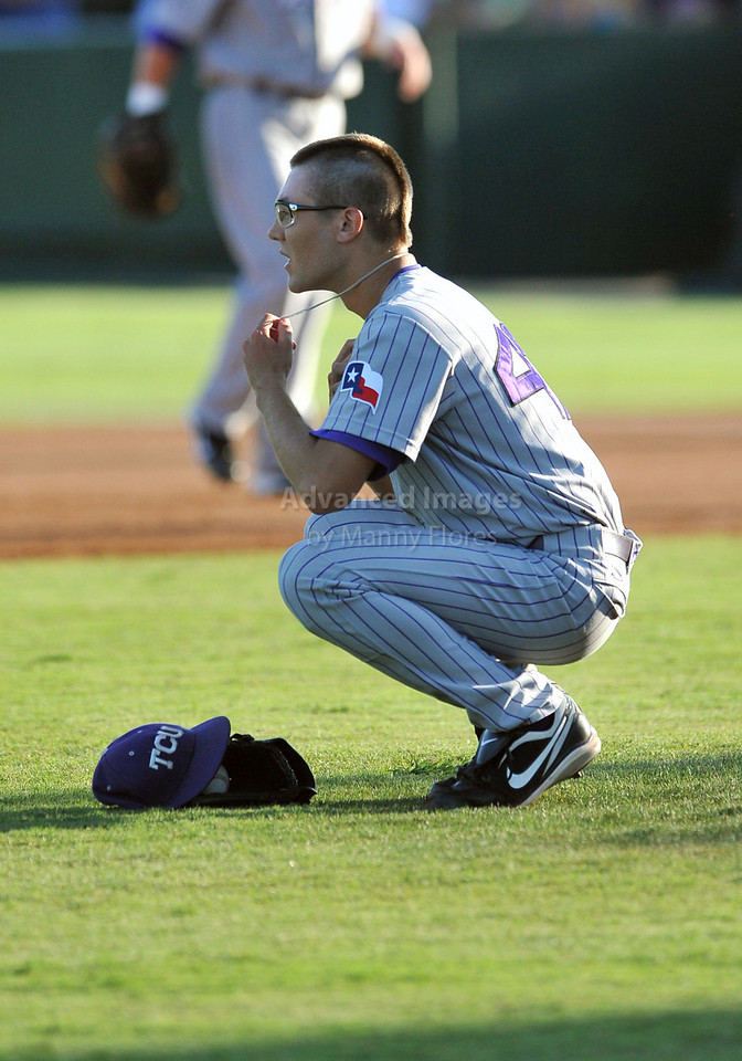 5th June 2010:  <br /> TCU LHP Matt Purke #47 has a moment of silence before taking the mound before the 2010 NCAA Fort Worth Baseball Regional game<br /> between the TCU Horned Frogs and the Arizona Wildcats at Lupton Stadium in Fort Worth, Texas.<br /> TCU wins 11-5