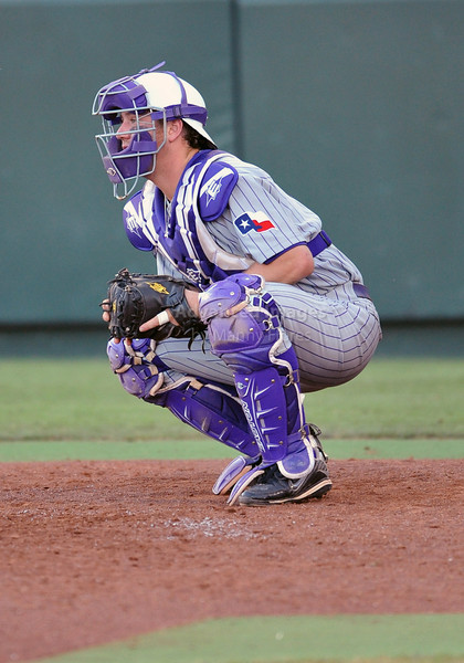 5th June 2010:  <br /> TCU Catcher Bryan Holaday #16 in action<br /> during the 2010 NCAA Fort Worth Baseball Regional game<br /> between the TCU Horned Frogs and the Arizona Wildcats at Lupton Stadium in Fort Worth, Texas.<br /> TCU wins 11-5