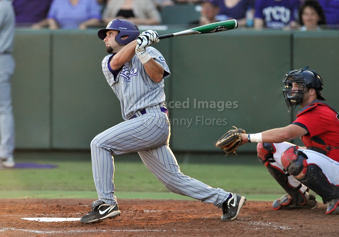 5th June 2010:  <br /> TCU cf Aaron Schultz #29 swings at the ball<br /> during the 2010 NCAA Fort Worth Baseball Regional game<br /> between the TCU Horned Frogs and the Arizona Wildcats at Lupton Stadium in Fort Worth, Texas.<br /> TCU wins 11-5