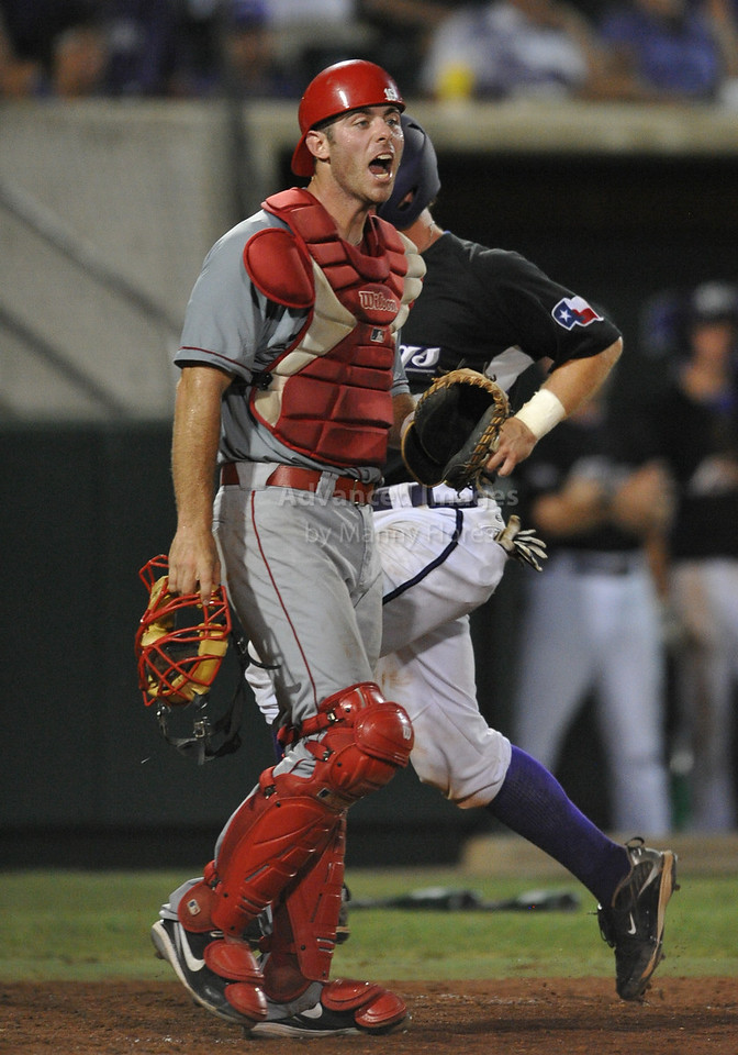 4th June 2010:  <br /> Lamar Catcher Joey Latulippe #16 in action<br /> at the 2010 College World Series Fort Worth Regional game<br /> between the TCU Horned Frogs and the Lamar Cardinals at Lupton Stadium in Fort Worth, Texas.<br /> TCU wins 16-3