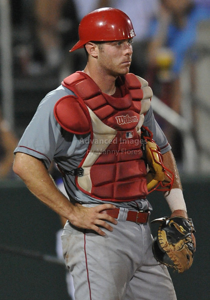 4th June 2010:  <br /> Lamar Catcher Joey Latulippe #16 frustrated <br /> at the 2010 College World Series Fort Worth Regional game<br /> between the TCU Horned Frogs and the Lamar Cardinals at Lupton Stadium in Fort Worth, Texas.<br /> TCU wins 16-3