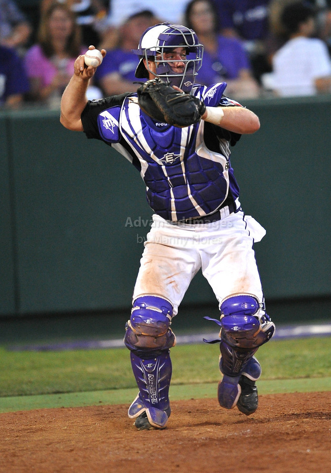4th June 2010:  <br /> TCU Catcher Bryan Holaday #16 throws out a runner <br /> at the 2010 College World Series Fort Worth Regional game<br /> between the TCU Horned Frogs and the Lamar Cardinals at Lupton Stadium in Fort Worth, Texas.<br /> TCU wins 16-3