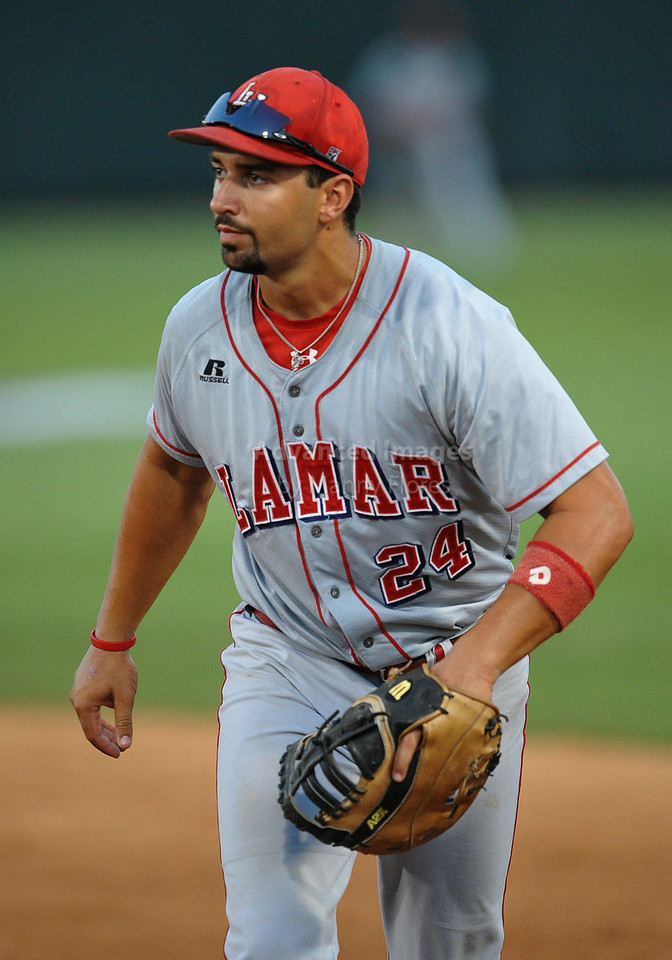 4th June 2010:  <br /> Lamar 1ST baseman Wade Mathis #24 in action<br /> at the 2010 College World Series Fort Worth Regional game<br /> between the TCU Horned Frogs and the Lamar Cardinals at Lupton Stadium in Fort Worth, Texas.<br /> TCU wins 16-3