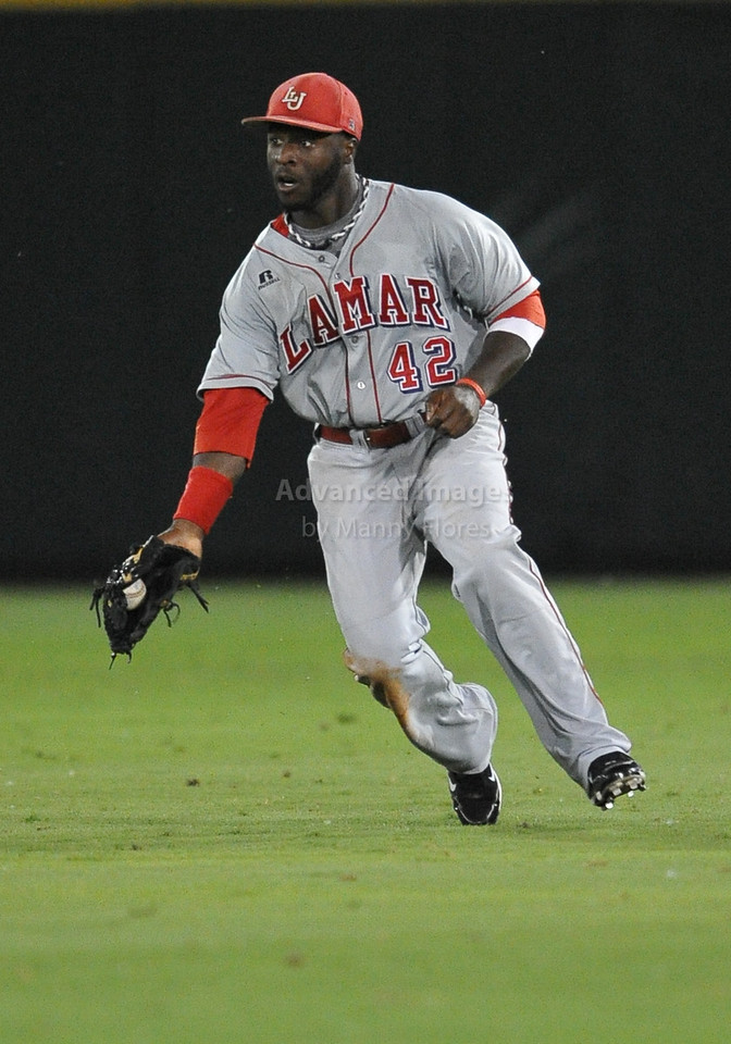 4th June 2010:  <br /> Lamar Centerfielder Anthony Moore #42 fields the ball<br /> at the 2010 College World Series Fort Worth Regional game<br /> between the TCU Horned Frogs and the Lamar Cardinals at Lupton Stadium in Fort Worth, Texas.<br /> TCU wins 16-3
