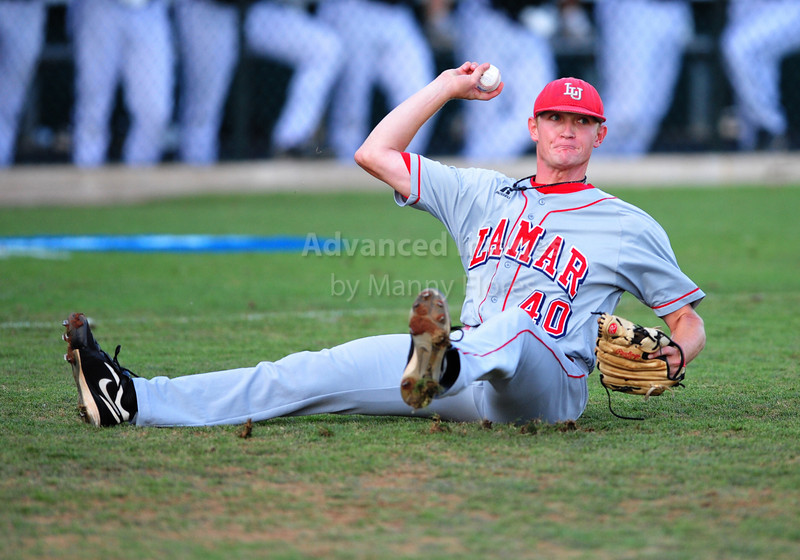 4th June 2010:  <br /> Lamar RHP Matison Smith #40 gets a loose ball<br /> at the 2010 College World Series Fort Worth Regional game<br /> between the TCU Horned Frogs and the Lamar Cardinals at Lupton Stadium in Fort Worth, Texas.<br /> TCU wins 16-3