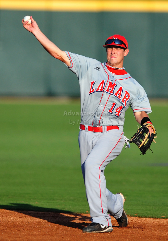4th June 2010:  <br /> Lamar Second Baseman V.J. Bunner #14 throws to 1st base<br /> at the 2010 College World Series Fort Worth Regional game<br /> between the TCU Horned Frogs and the Lamar Cardinals at Lupton Stadium in Fort Worth, Texas.<br /> TCU wins 16-3
