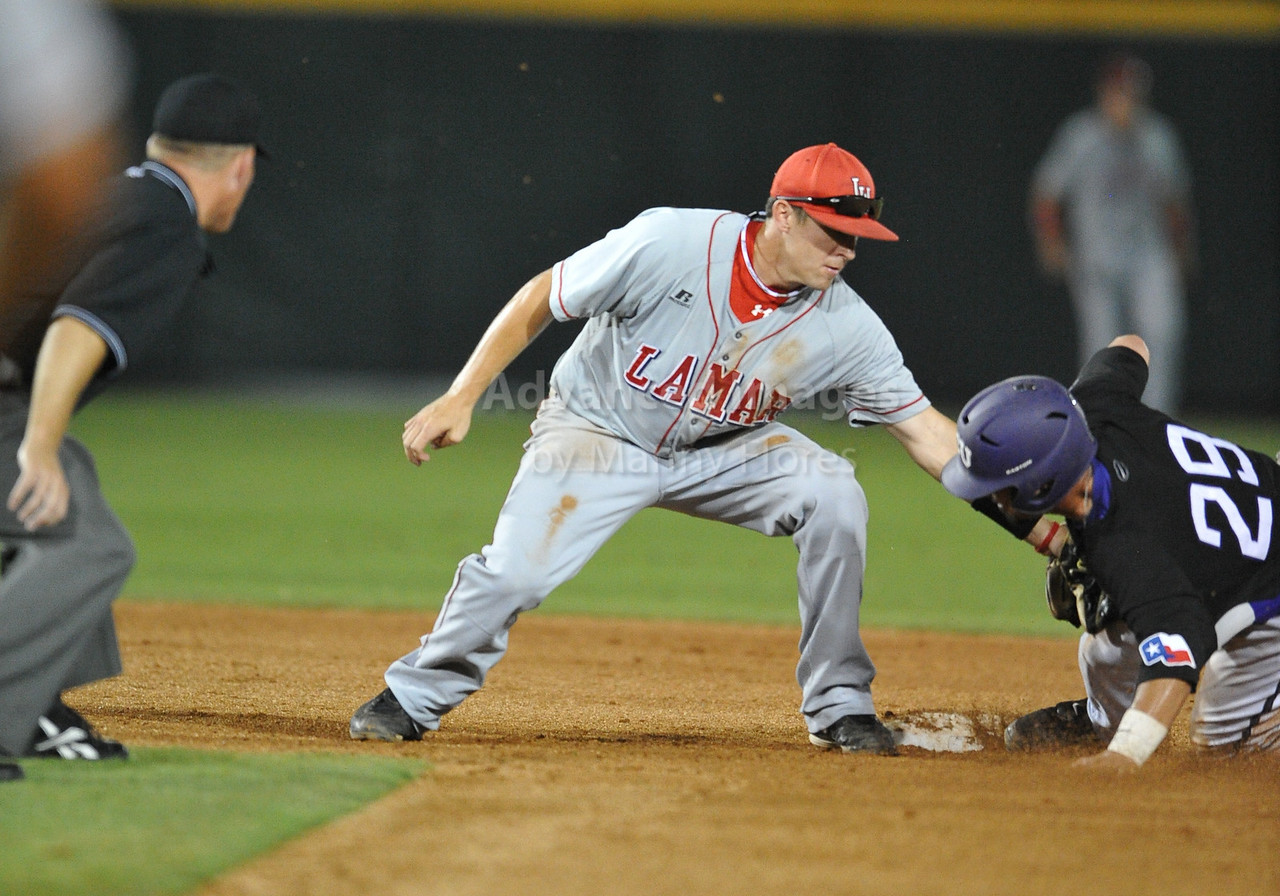 4th June 2010:  <br /> Lamar Second Baseman V.J. Bunner #14 tags the runner<br /> at the 2010 College World Series Fort Worth Regional game<br /> between the TCU Horned Frogs and the Lamar Cardinals at Lupton Stadium in Fort Worth, Texas.<br /> TCU wins 16-3