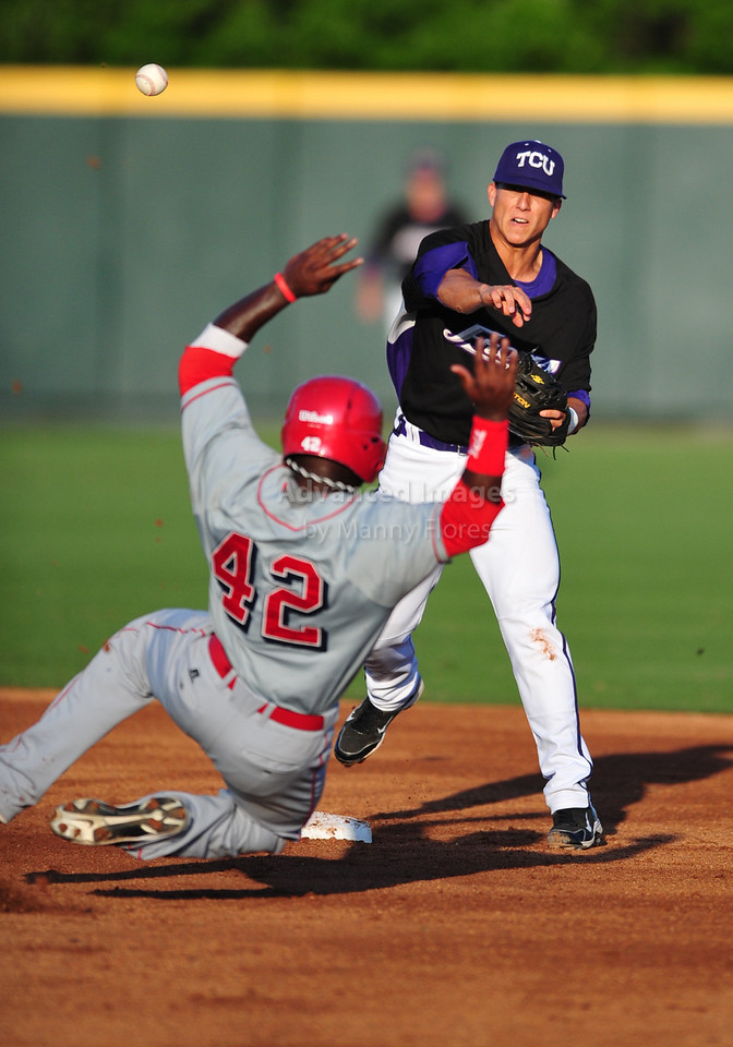 4th June 2010:  <br /> TCU Second Base Jerome Pena #2 gets a double play<br /> at the 2010 College World Series Fort Worth Regional game<br /> between the TCU Horned Frogs and the Lamar Cardinals at Lupton Stadium in Fort Worth, Texas.<br /> TCU wins 16-3