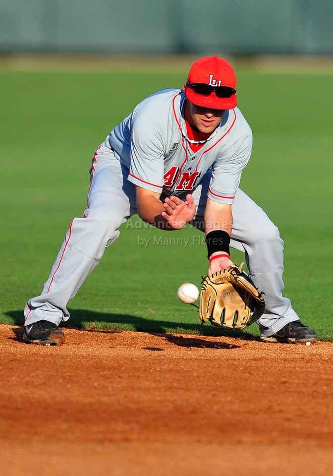 4th June 2010:  <br /> Lamar Short Stop Aaron Buchanan #1 fields the ball<br /> at the 2010 College World Series Fort Worth Regional game<br /> between the TCU Horned Frogs and the Lamar Cardinals at Lupton Stadium in Fort Worth, Texas.<br /> TCU wins 16-3