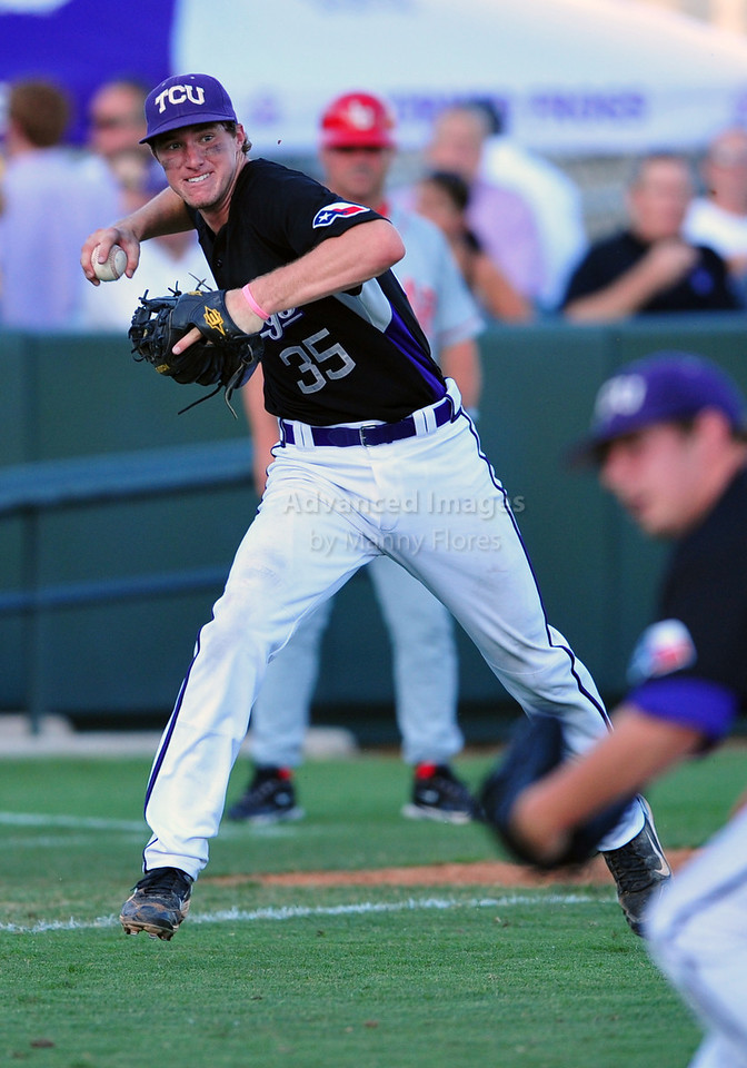 4th June 2010:  <br /> TCU Third Baseman Jantzen Witte #35 picks up a bunt and throws the runner out at the 2010 College World Series Fort Worth Regional game between the TCU Horned Frogs and the Lamar Cardinals at Lupton Stadium in Fort Worth, Texas.<br /> TCU wins 16-3
