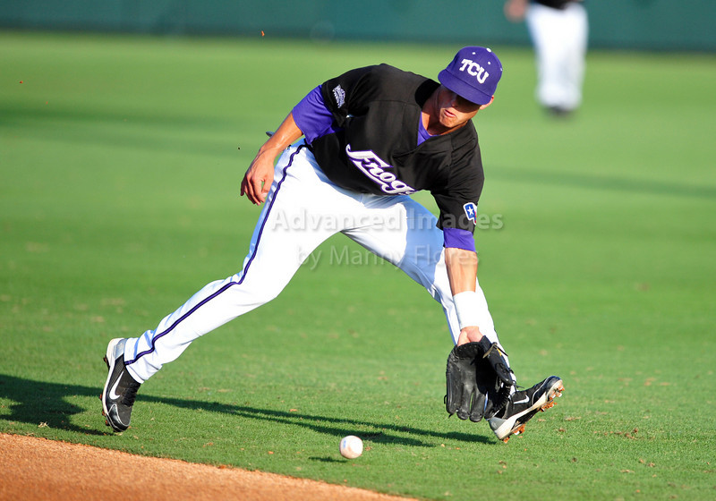 4th June 2010:  <br /> TCU Second Base Jerome Pena #2 gets a loose ball   <br /> at the 2010 College World Series Fort Worth Regional game<br /> between the TCU Horned Frogs and the Lamar Cardinals at Lupton Stadium in Fort Worth, Texas.<br /> TCU wins 16-3