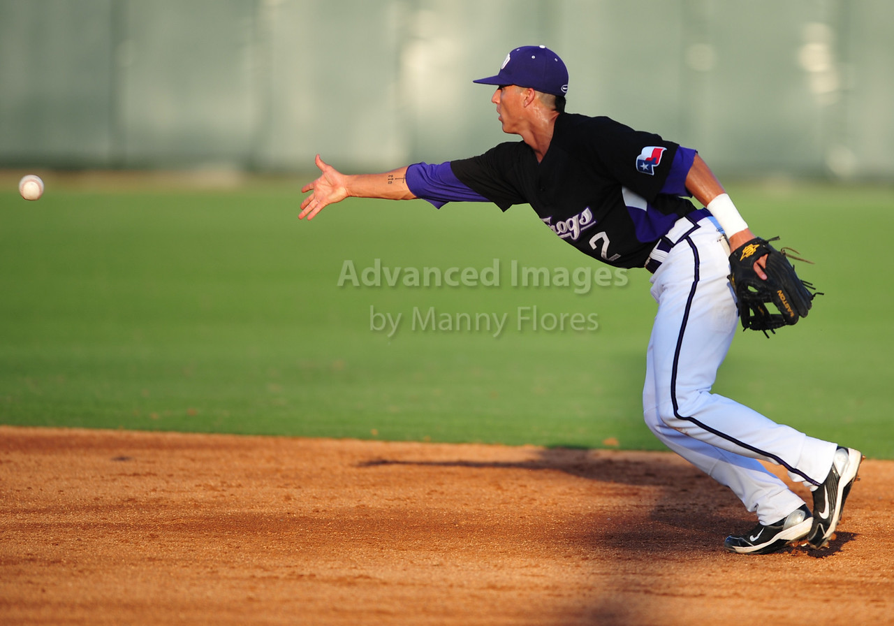 4th June 2010:  <br /> TCU Second Base Jerome Pena #2 thows to SS for a double play<br /> at the 2010 College World Series Fort Worth Regional game<br /> between the TCU Horned Frogs and the Lamar Cardinals at Lupton Stadium in Fort Worth, Texas.<br /> TCU wins 16-3