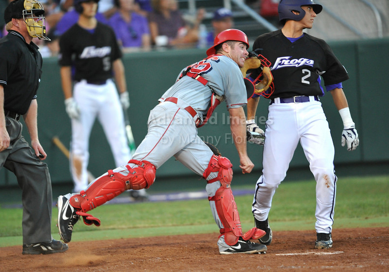 4th June 2010:  <br /> Lamar Catcher Joey Latulippe #16 throws the runner out at 2nd<br /> at the 2010 College World Series Fort Worth Regional game<br /> between the TCU Horned Frogs and the Lamar Cardinals at Lupton Stadium in Fort Worth, Texas.<br /> TCU wins 16-3