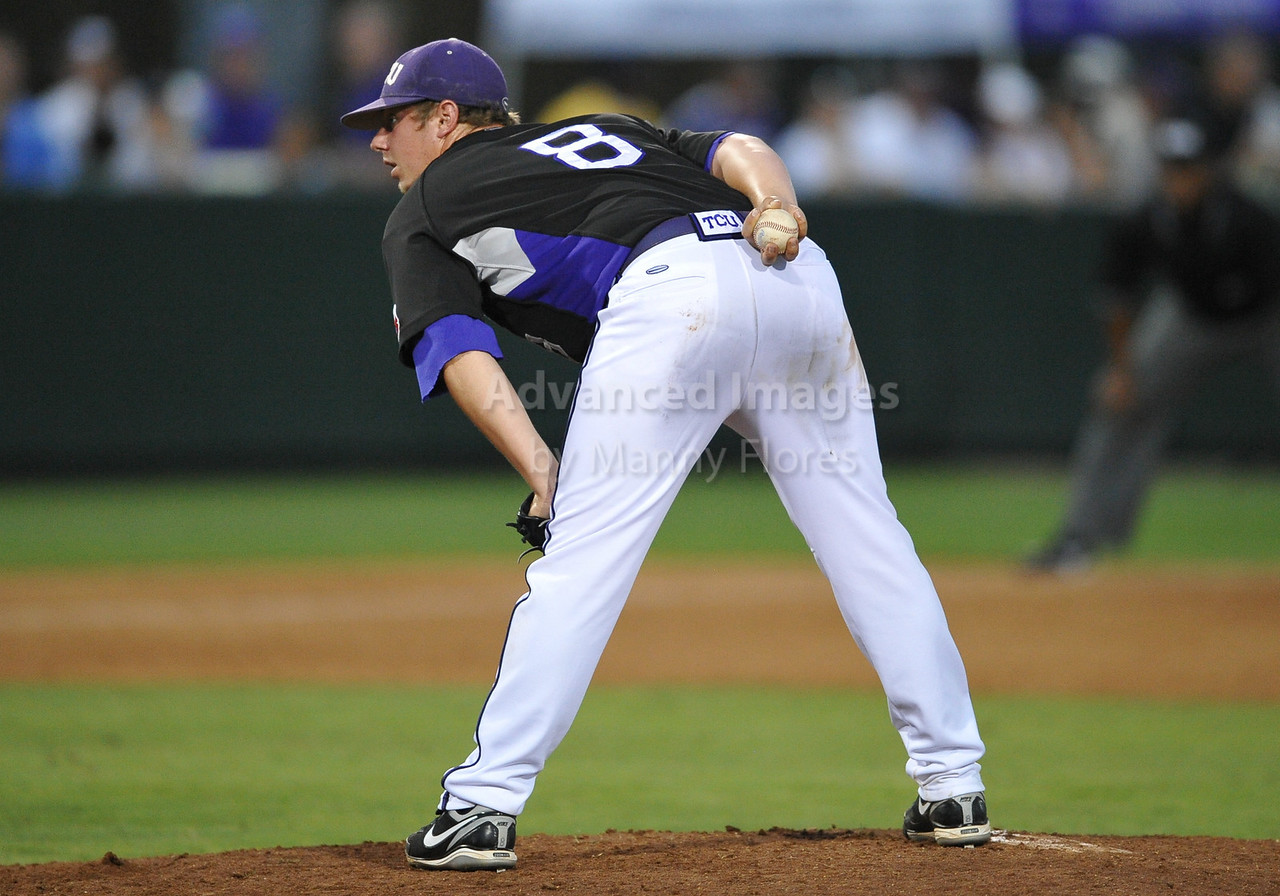 4th June 2010:  <br /> TCU Ptcher Kyle Winkler #8 takes the mound<br /> at the 2010 College World Series Fort Worth Regional game<br /> between the TCU Horned Frogs and the Lamar Cardinals at Lupton Stadium in Fort Worth, Texas.<br /> TCU wins 16-3