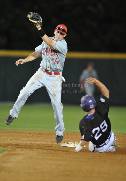 4th June 2010:  <br /> Lamar Second Baseman V.J. Bunner #14 tries to tag the runner<br /> at the 2010 College World Series Fort Worth Regional game<br /> between the TCU Horned Frogs and the Lamar Cardinals at Lupton Stadium in Fort Worth, Texas.<br /> TCU wins 16-3