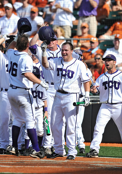 June 13 2010:  <br /> 16 Bryan Holaday C of TCU celebrates with teammates after his homerun as Texas and TCU met for game 3 on Saturday at the 2010 NCAA Super Regionals at UFCU Disch-Falk Field in Austin Texas.<br /> TCU advances to the College World Series winning 4-1.<br /> (Credit Image: © Manny Flores/Cal Sport Media)