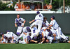 June 13 2010:  <br /> TCU players celebrate their win by jumping on the Lonhorn symbol at the middle of the field as Texas and TCU met for game 3 on Saturday at the 2010 NCAA Super Regionals at UFCU Disch-Falk Field in Austin Texas.<br /> TCU advances to the College World Series winning 4-1.<br /> (Credit Image: © Manny Flores/Cal Sport Media)