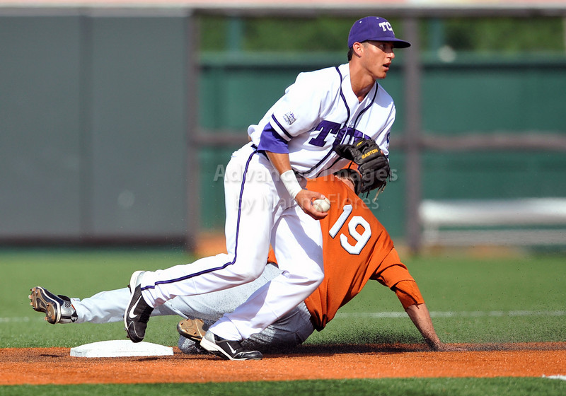 June 13 2010:  <br /> 2 Jerome Pena lNF/OF of TCU gets the force out at 2nd base<br /> as Texas and TCU met for game 3 on Saturday at the 2010 NCAA Super Regionals at UFCU Disch-Falk Field in Austin Texas.<br /> TCU advances to the College World Series winning 4-1.<br /> (Credit Image: © Manny Flores/Cal Sport Media)