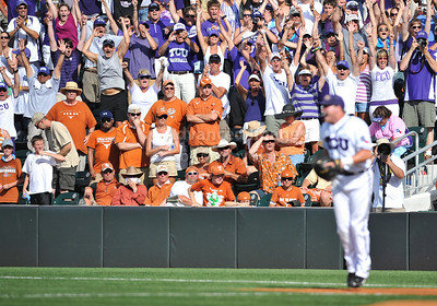 June 13 2010:   TCU fan cheer as TCU gets the win as TCU and Texas met for game 3 on Saturday at the 2010 NCAA Super Regionals at UFCU Disch-Falk Field in Austin Texas. TCU advances to the College World Series winning 4-1. (Credit Image: © Manny Flores/Cal Sport Media)