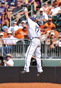 June 13 2010:   17 Matt Curry lNF of TCU tries to pull down an bad throw from the SS as Texas and TCU met for game 3 on Saturday at the 2010 NCAA Super Regionals at UFCU Disch-Falk Field in Austin Texas. TCU advances to the College World Series winning 4-1. (Credit Image: © Manny Flores/Cal Sport Media)
