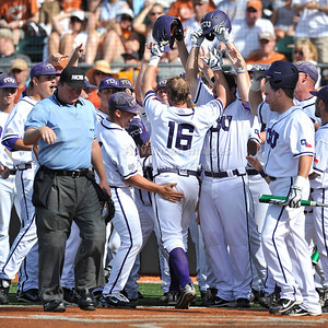 June 13 2010:   16 Bryan Holaday C of TCU celebrates with teammates after his homerun as Texas and TCU met for game 3 on Saturday at the 2010 NCAA Super Regionals at UFCU Disch-Falk Field in Austin Texas. TCU advances to the College World Series winning 4-1. (Credit Image: © Manny Flores/Cal Sport Media)