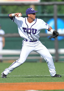 June 13 2010:   2 Jerome Pena lNF/OF of TCU throws to 1st base for the final out as Texas and TCU met for game 3 on Saturday at the 2010 NCAA Super Regionals at UFCU Disch-Falk Field in Austin Texas. TCU advances to the College World Series winning 4-1. (Credit Image: © Manny Flores/Cal Sport Media)