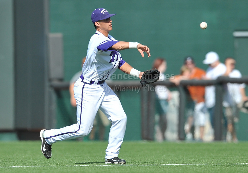 June 13 2010:  <br /> 2 Jerome Pena lNF/OF of TCU throws to 1st base<br /> as Texas and TCU met for game 3 on Saturday at the 2010 NCAA Super Regionals at UFCU Disch-Falk Field in Austin Texas.<br /> TCU advances to the College World Series winning 4-1.<br /> (Credit Image: © Manny Flores/Cal Sport Media)