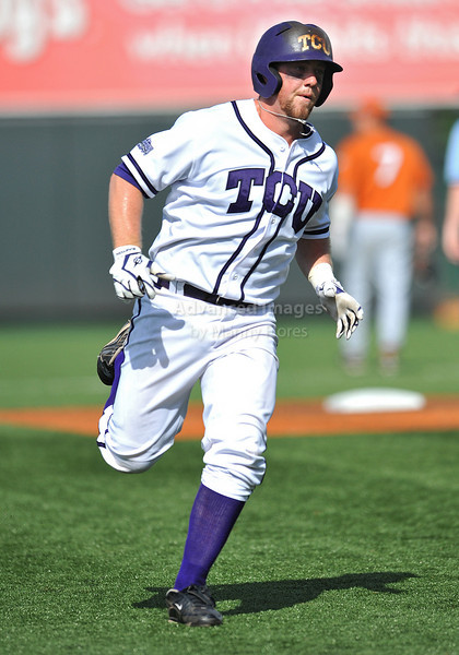 June 13 2010:  <br /> 16 Bryan Holaday C of TCU celebrates after his homerun<br /> as Texas and TCU met for game 3 on Saturday at the 2010 NCAA Super Regionals at UFCU Disch-Falk Field in Austin Texas.<br /> TCU advances to the College World Series winning 4-1.<br /> (Credit Image: © Manny Flores/Cal Sport Media)