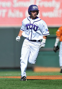 June 13 2010:   29 Aaron Schultz lNF/OF of TCU celebrates after his homerun to put the game away as Texas and TCU met for game 3 on Saturday at the 2010 NCAA Super Regionals at UFCU Disch-Falk Field in Austin Texas. TCU advances to the College World Series winning 4-1. (Credit Image: © Manny Flores/Cal Sport Media)