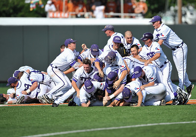June 13 2010:   TCU players celebrate their win by jumping on the Lonhorn symbol at the middle of the field as Texas and TCU met for game 3 on Saturday at the 2010 NCAA Super Regionals at UFCU Disch-Falk Field in Austin Texas. TCU advances to the College World Series winning 4-1. (Credit Image: © Manny Flores/Cal Sport Media)
