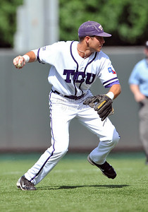 June 13 2010:   12 Taylor Featherston lNF of TCU throws to 1st base as Texas and TCU met for game 3 on Saturday at the 2010 NCAA Super Regionals at UFCU Disch-Falk Field in Austin Texas. TCU advances to the College World Series winning 4-1. (Credit Image: © Manny Flores/Cal Sport Media)