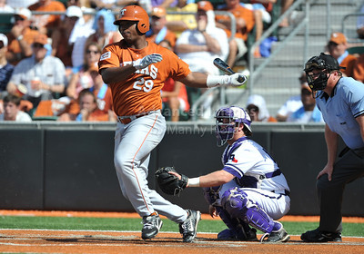 June 13 2010:   29 Kevin Keyes OF of Texas at bat in the 8th inning as Texas and TCU met for game 3 on Saturday at the 2010 NCAA Super Regionals at UFCU Disch-Falk Field in Austin Texas. TCU advances to the College World Series winning 4-1. (Credit Image: © Manny Flores/Cal Sport Media)