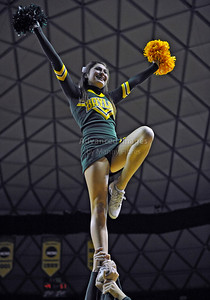 Jan 26th, 2010:   Baylor Bear Cheerleader in action in a NCAA basketball game between the Kansas State Wildcats and the Baylor Bears at the Ferrell Coliseum in Waco, Texas. Kansas State wins 76-74