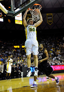 Jan 26th, 2010:   Baylor Josh Lomers #50 C gets a dunk in a NCAA basketball game between the Kansas State Wildcats and the Baylor Bears at the Ferrell Coliseum in Waco, Texas. Kansas State wins 76-74