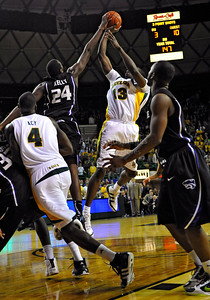 Jan 26th, 2010:   Kansas State Curtis Kelly #24 F blocks a shot in a NCAA basketball game between the Kansas State Wildcats and the Baylor Bears at the Ferrell Coliseum in Waco, Texas. Kansas State wins 76-74