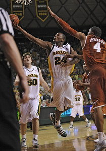 March 6th, 2010:   Baylor Bears Lacedarius Dunn #24 Guard gets a finger roll to go in a NCAA basketball game between the Texas Longhorns and the Baylor Bears at the Ferrell Coliseum in Waco, Texas. Baylor wins 92-77