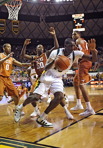 March 6th, 2010:   Baylor Bears Ekpe Udoh #13 F/C in action in a NCAA basketball game between the Texas Longhorns and the Baylor Bears at the Ferrell Coliseum in Waco, Texas. Baylor wins 92-77