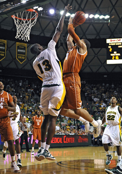 March 6th, 2010:  <br /> Baylor Bears Ekpe Udoh #13 F/C in action against Texas Longhorn Gary Johnson #4 F in a NCAA basketball game between the Texas Longhorns and the Baylor Bears at the Ferrell Coliseum in Waco, Texas.<br /> Baylor wins 92-77