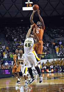 March 6th, 2010:   Texas Longhorns Damion James #5 G/F in action in a NCAA basketball game between the Texas Longhorns and the Baylor Bears at the Ferrell Coliseum in Waco, Texas. Baylor wins 92-77