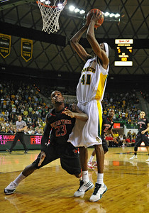 Feb 16th, 2010:   Baylor Forward Anthony Jones #41 gets a rebound over Texas Tech Guard Nick Okorie #23 during a NCAA Basketball game between the Texas Tech Red Raiders and the Baylor Bears at the Ferrell Center at Waco, Texas Baylor wins 88-70