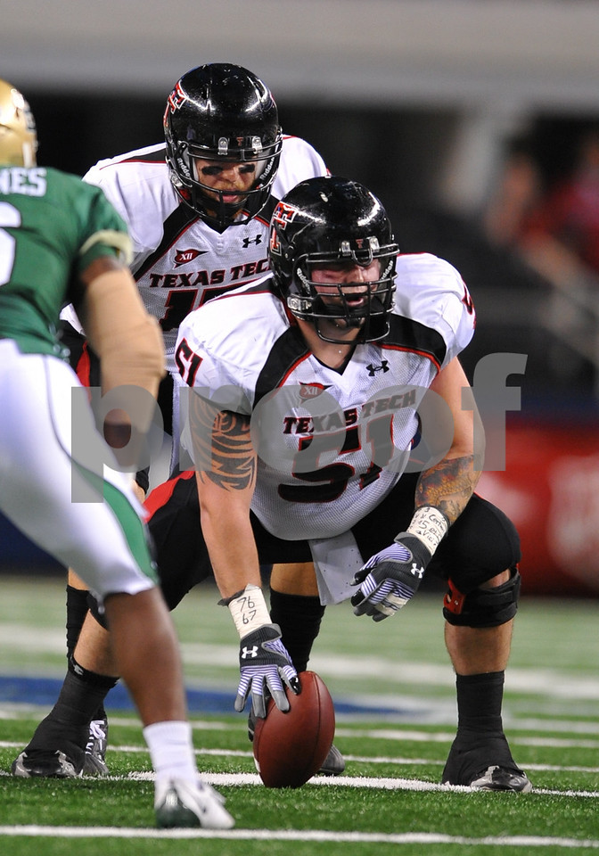 November 28th, 2009:  <br /> Texas Tech Center Shawn Byrnes #51 in action during a NCAA Football game between the Baylor Bears and theTexas Tech Red Raiders at Cowboy Stadium in Arlington, TX.  <br /> Texas Tech wins 20-13.