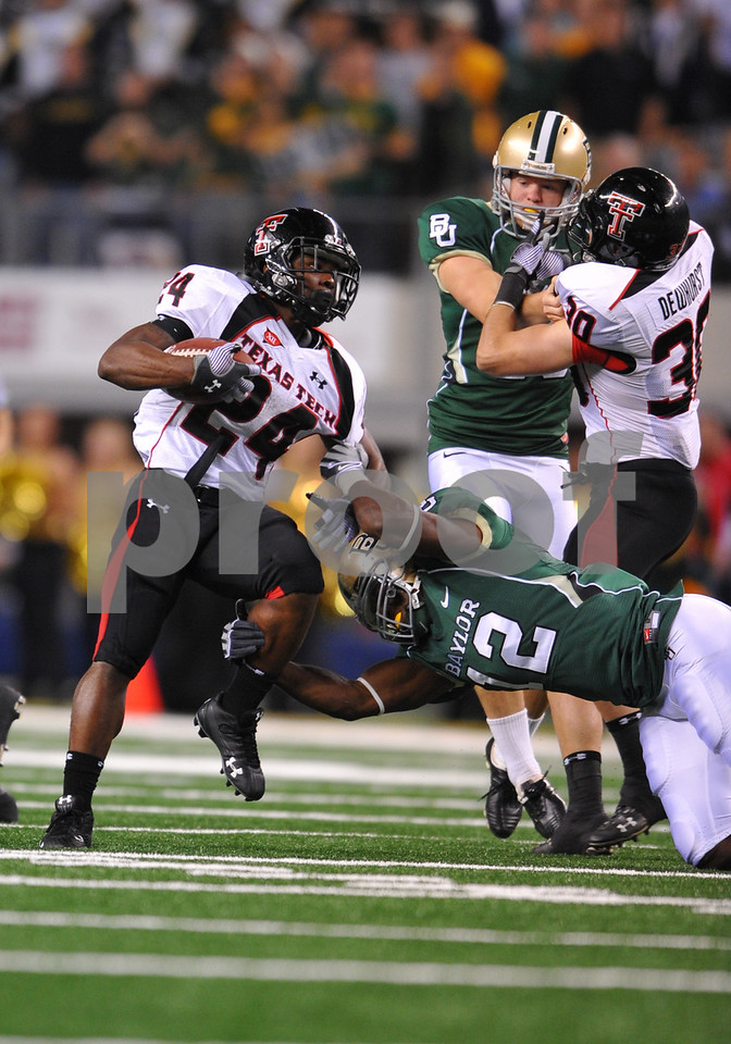 November 28th, 2009:  <br /> Texas Tech running back Eric Stephens #24 & Baylor safety T.J. Scranton #12 in action during a NCAA Football game between the Baylor Bears and theTexas Tech Red Raiders at Cowboy Stadium in Arlington, TX.  <br /> Texas Tech wins 20-13.