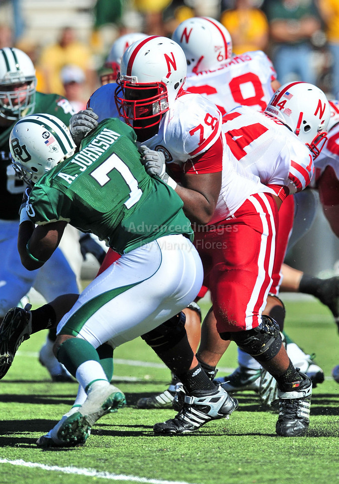 October 31st, 2009:  <br /> Nebraska offensive lineman Marcel Jones #78 in action during a NCAA Football game between the Nebraska Cornhuskers and Baylor Bears at Floyd Casey  Stadium in Waco, TX.  <br /> Nebraska wins 20-10.