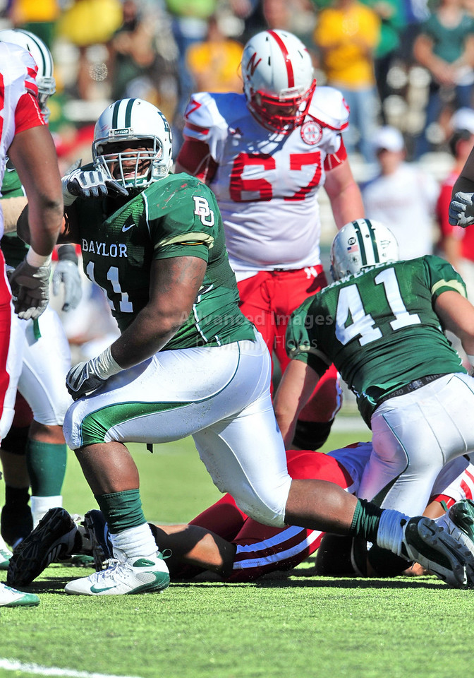 October 31st, 2009:  <br /> Baylor defensive tackle Phillip Taylor #11 in action during a NCAA Football game between the Nebraska Cornhuskers and Baylor Bears at Floyd Casey  Stadium in Waco, TX.  <br /> Nebraska wins 20-10.