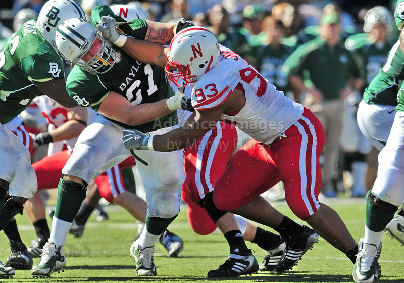 October 31st, 2009:  <br /> Nebraska defensive tackle Ndamukong Suh #93 & Baylor guard James Barnard #61 in action during a NCAA Football game between the Nebraska Cornhuskers and Baylor Bears at Floyd Casey  Stadium in Waco, TX.  <br /> Nebraska wins 20-10.