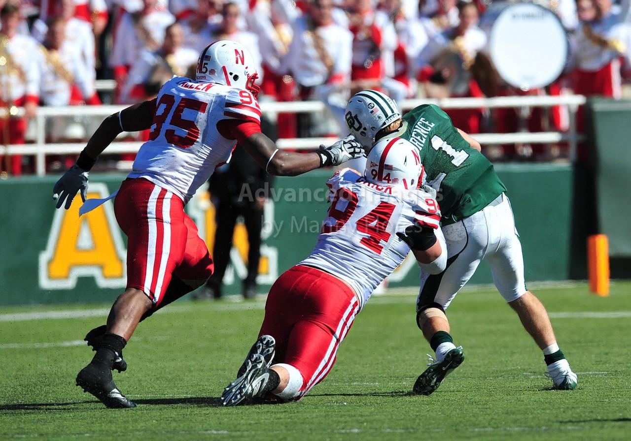 October 31st, 2009:  <br /> Nebraska defensive tackle Jared Crick #94 & Nebraska defensive end Pierre Allen #95 gets a tackle during a NCAA Football game between the Nebraska Cornhuskers and Baylor Bears at Floyd Casey  Stadium in Waco, TX.  <br /> Nebraska wins 20-10.