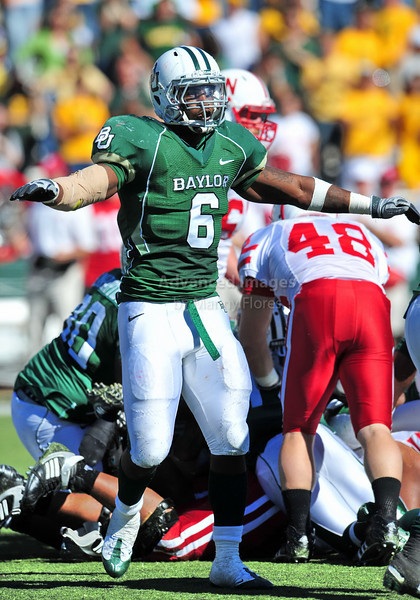October 31st, 2009:  <br /> Baylor linebacker Antonio Jones #6 in action during a NCAA Football game between the Nebraska Cornhuskers and Baylor Bears at Floyd Casey  Stadium in Waco, TX.  <br /> Nebraska wins 20-10.