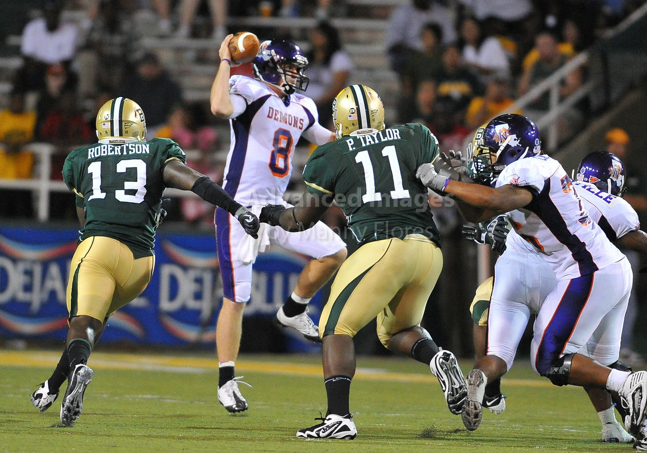September 26th 2009:  <br /> Northwestern State quarterback Tyler Wolfe #8<br /> in action during a NCAA Football game between the Baylor Bears and the Northwestern State Demons at Floyd Casey  Stadium in Waco, TX.  <br /> Baylor wins 68-13
