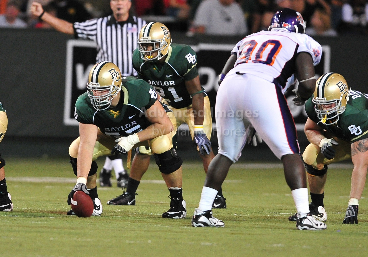 September 26th 2009:  <br /> Baylor center J.D. Walton #55<br /> in action during a NCAA Football game between the Baylor Bears and the Northwestern State Demons at Floyd Casey  Stadium in Waco, TX.  <br /> Baylor wins 68-13