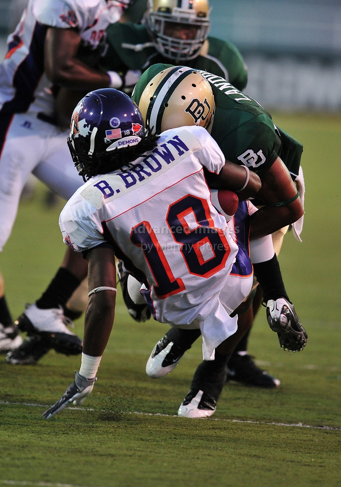 September 26th 2009:  <br /> Baylor safety Byron Landor #14<br /> in action during a NCAA Football game between the Baylor Bears and the Northwestern State Demons at Floyd Casey  Stadium in Waco, TX.  <br /> Baylor wins 68-13